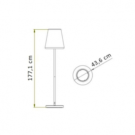 Lola Slim 180 Solar&Battery staande lamp goud LED multicolor made by NewGarden